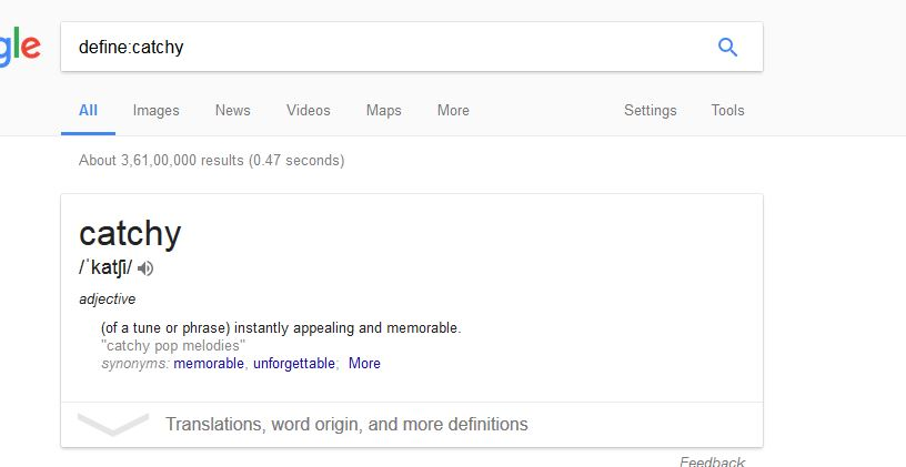 google search define of words image